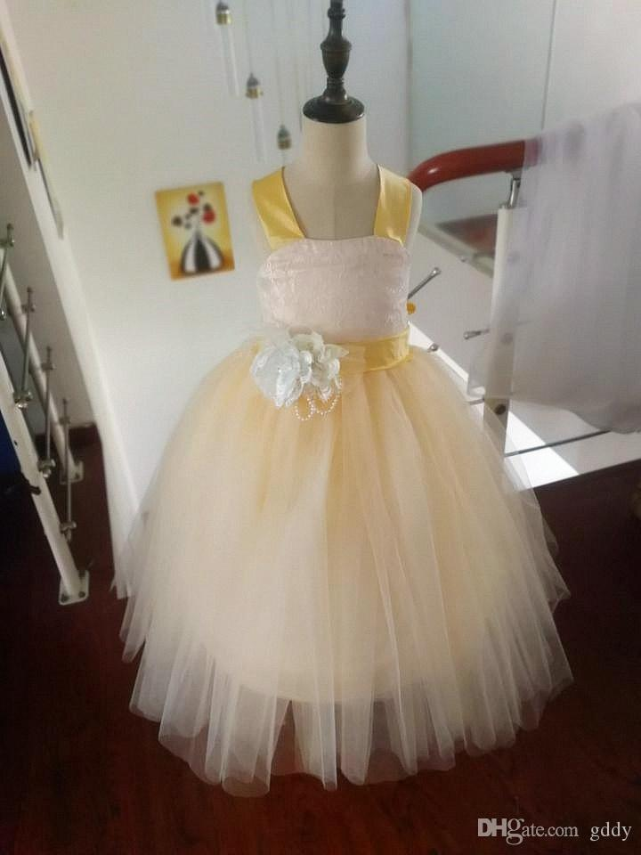 Pizzo Flower Girl Dress con Flower Ball Gown Party Dress Pageant Little Girls Dress for Wedding