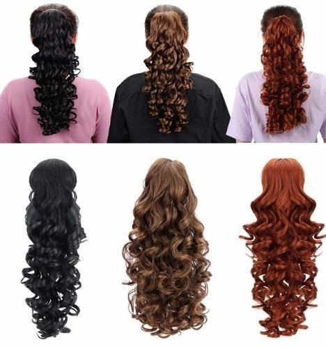 "18"" Curly Synthetic Ponytail Hair Extensions Claw On Hairpiece Long Deep Wave Clip In Ponytail Extensions Heat Resistant"