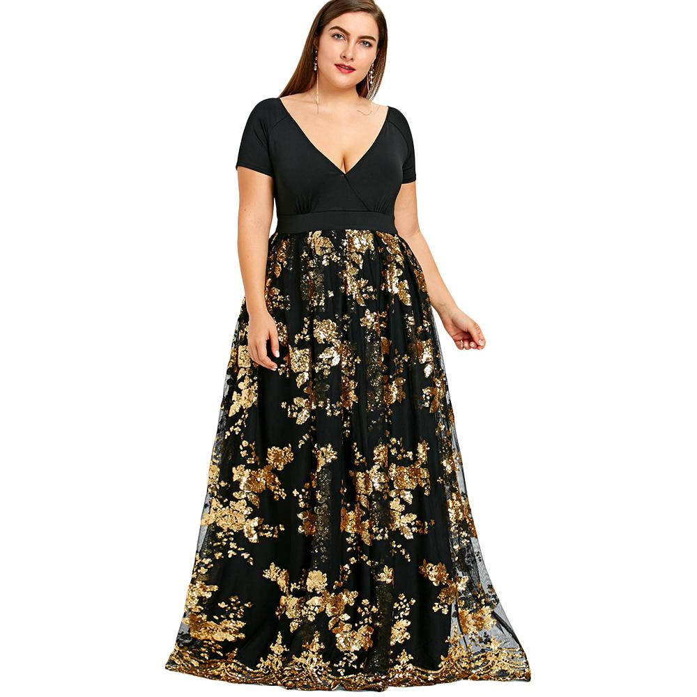 40990e3c73ffc Wipalo 5XL Plus Size Dress Women Sequined Floral Sparkly Maxi Dresses  Elegant Formal Party Dress Evening Vestidos Robe Femme Red