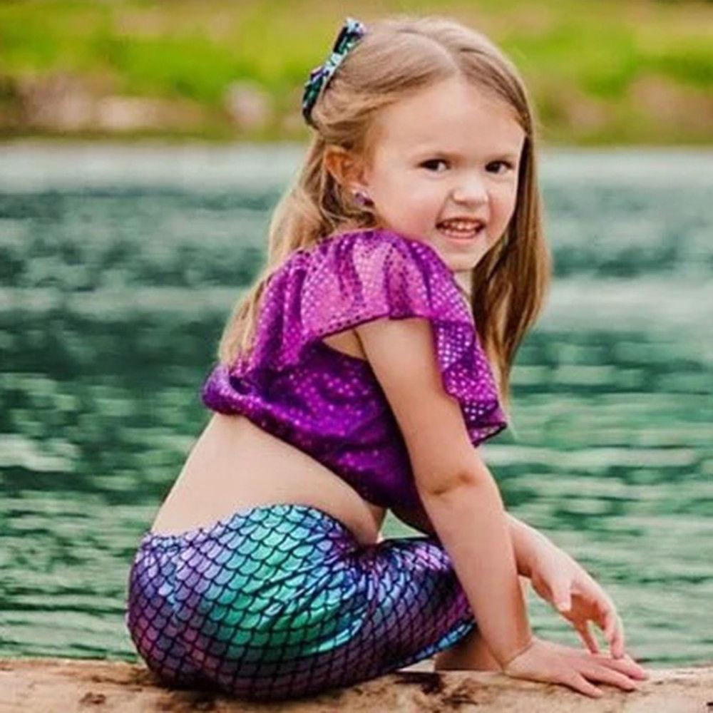 Purple Mermaid Ruffle Sleeveless Sequin Crop Top Pants Costume 3PCS Outfits Sunsuit 1-6Y Toddler Kids Baby Girl Clothes Set