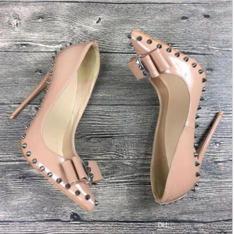 8 Spikes 10 12 Frauen High Nadel Lackleder Mode Cm Pumps Nude Marke Bogen Exklusive Luxus Schuhe Nieten Heels 8nOPkX0w