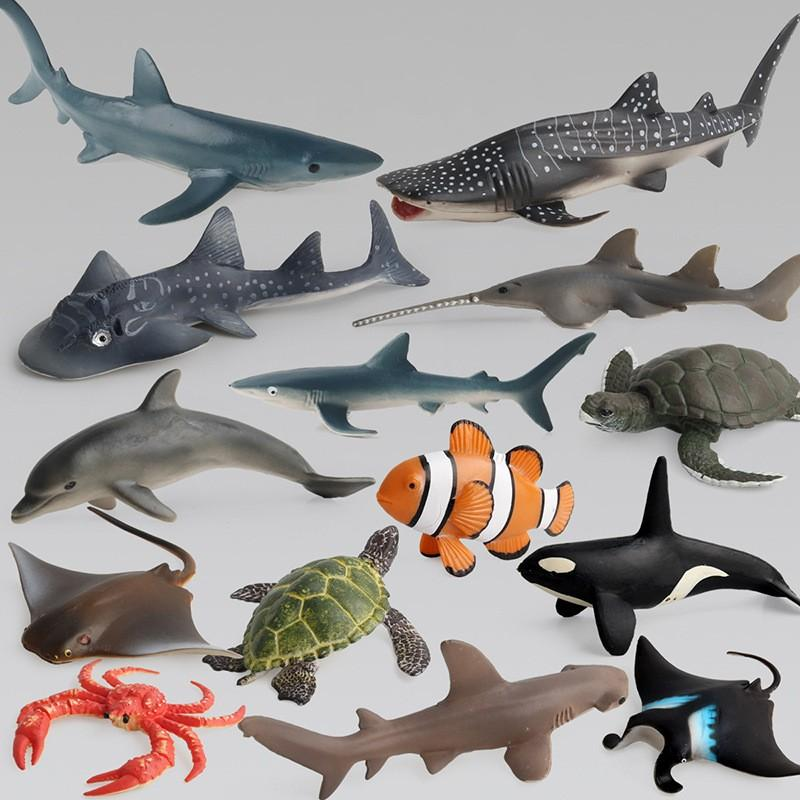 Fish Figures Ocean Sea Life Simulation Animal Model Sets Shark Whale Turtle Crab Dolphin Toy Kids Educational 12 38xd D1