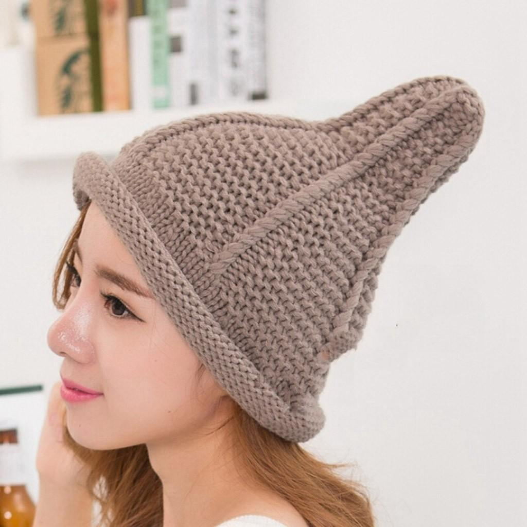 2018 Fashion Women Warm Cute Pacifier Cap Shape Winter Plus Solid Slouchy Knit  Hat Wool Hat Pointed Nipple Cap  L4 Trucker Caps Summer Hats From  Arrowhead 0fb042ad7613