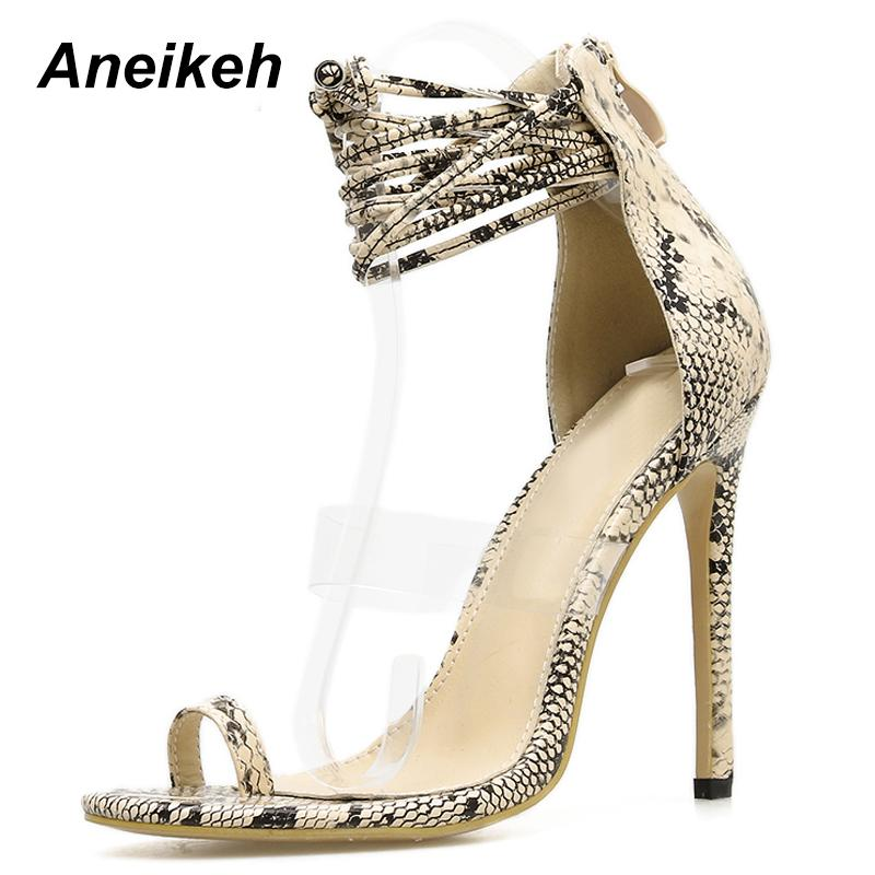 Dress Aneikeh 2019 Summer High Heels Lace Up Gladiator Sandals Women Shoes  Sexy Serpentine Pumps Slides Ladies Peep Toe Thin Heels Slippers For Men  Loafer ... 03095dfecb43