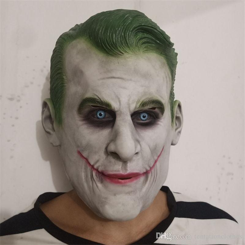 Joker Cosplay Costume Accessories Halloween Clown Latex Mask Full Face Dancing Party Collection Props