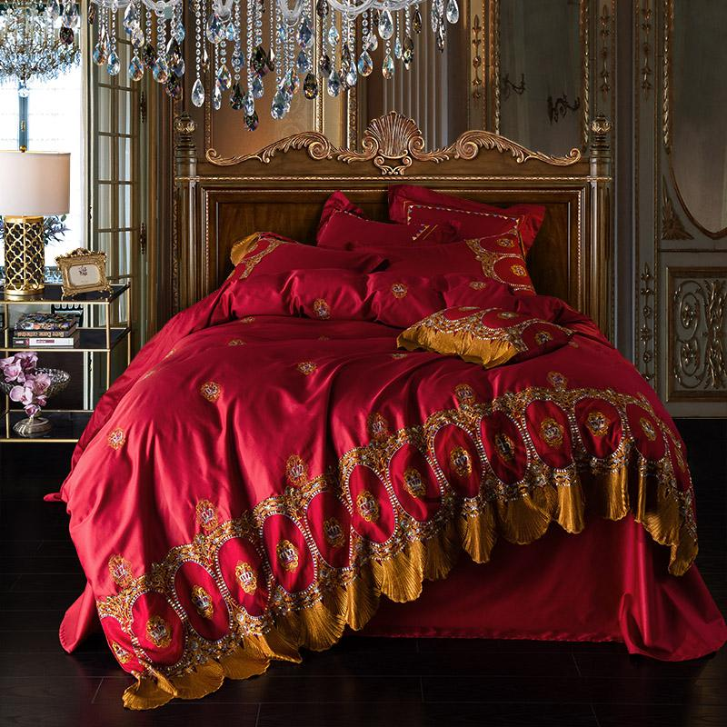 Soft Egyptian Cotton Red Bed Sheet Set Queen King Size Embroidery
