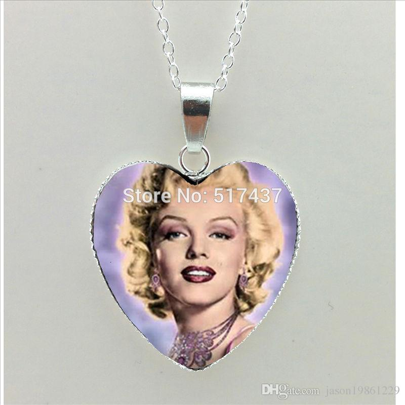 Free shipping jewelry 2019 New Marilyn Monroe Heart Necklace Marilyn Monroe Pendant Jewelry Silver Heart Shaped Necklaces HZ3