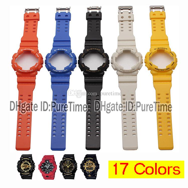 New 17 Colors Silicone Watch Strap Bands Watch Case Metal Buckle For Ga 110 Ga 100 Ga 120 Gd 100 Gd 110 Accessories Waterproof For Puretime