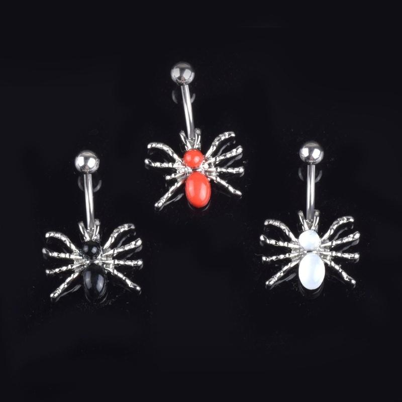 Women Girls Fancy 316l Surgical Steel Spider Pendant Belly Button Ring Red Black White Gem Dangle Sexy Navel Ring 14g Body Piercings Jewelry