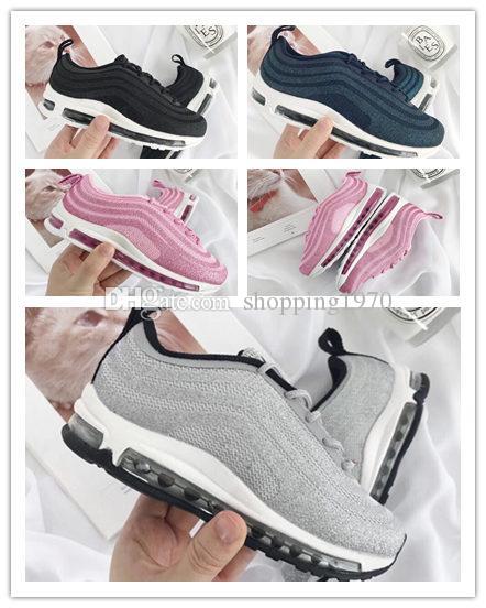 OG 97 Niños Niños Chicas Casual Moda Zapatillas de deporte Silver Bullet Metallic Gold Athletic Caminar Correr Calzado deportivo NEGRO BLANCO JAPÓN