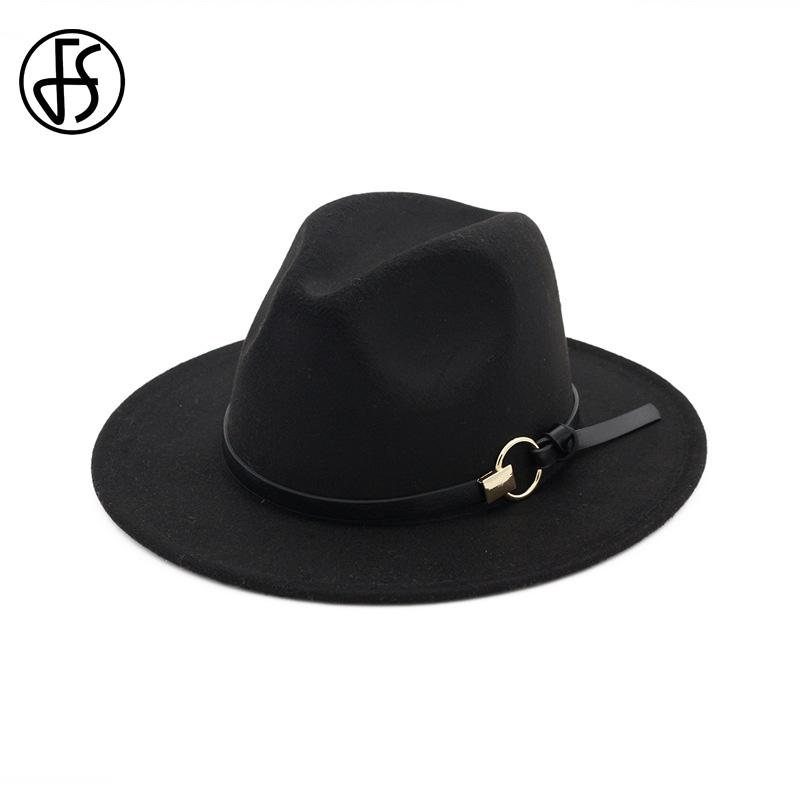 e9f291d32 2019 FS Wool Fedora Mens Hat Wide Brim Felt Classic Gentleman Winter Hats  For Womens Elegant Floppy Trilby Top Jazz Cap From Naixing, $22.26 |  DHgate.Com