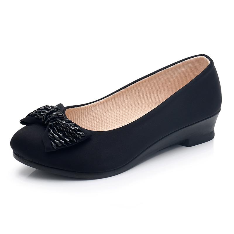 fa6493b40a7 Designer Dress Shoes Autumn Women Office Ladies Low Heel Pumps Bow Black  Wedges Comfortable Heels Formal Work Mom Ladies Pumps Casual Shoes Women  Shoes From ...