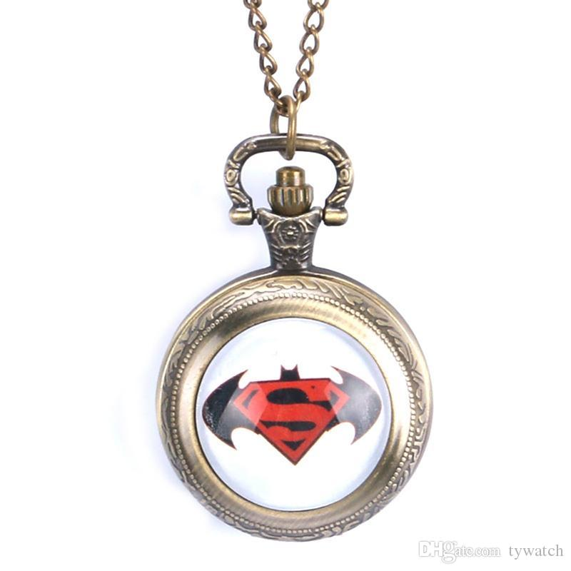 Cool Bronze Batman and Superman With Necklace Chain Christmas Gift Pocket Watch for Women Men