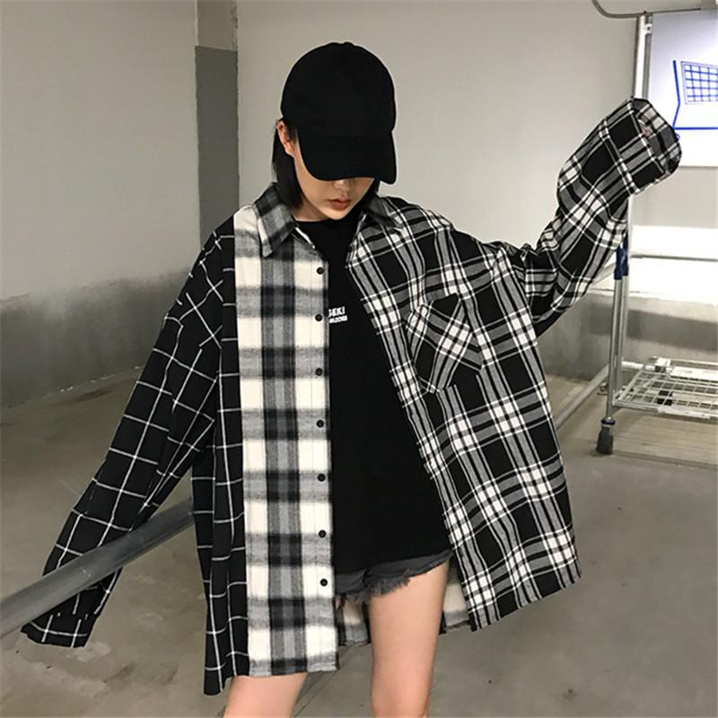 4734c0ee3e90 Spring Autumn Women Blouse Vintage Plaid Long Sleeve Lapel Loose ...