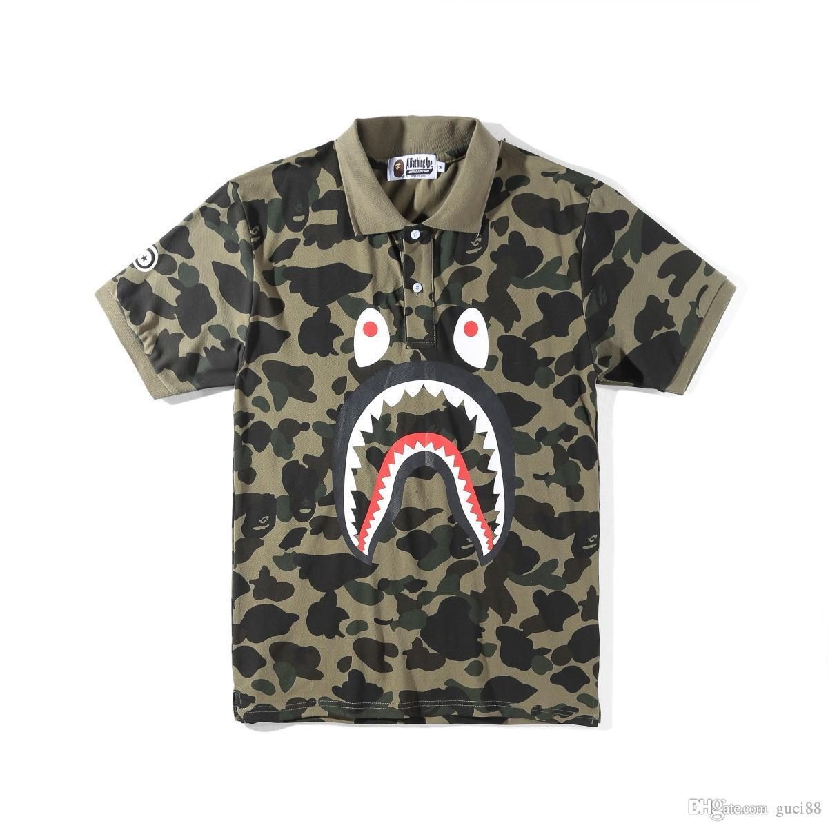 aeb0e3f7 Mens Designer T Shirts A Bathing Aape Ape Tshirt Pullover Off Mens Polo  Shirt Shark Printing Camouflage Women Clothes White Ape Casual Wear Vintage  Tee ...