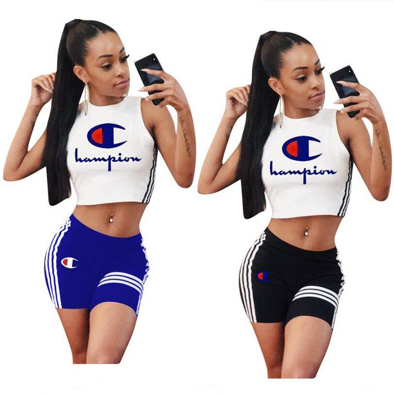 70d5e646ecb Women Champion Tracksuit Crop Tops + Shorts 2 Piece Outfits Tank Vest +  Shorts Sportswear Suits Letter Stripe Printed Clothes 2019 A41608