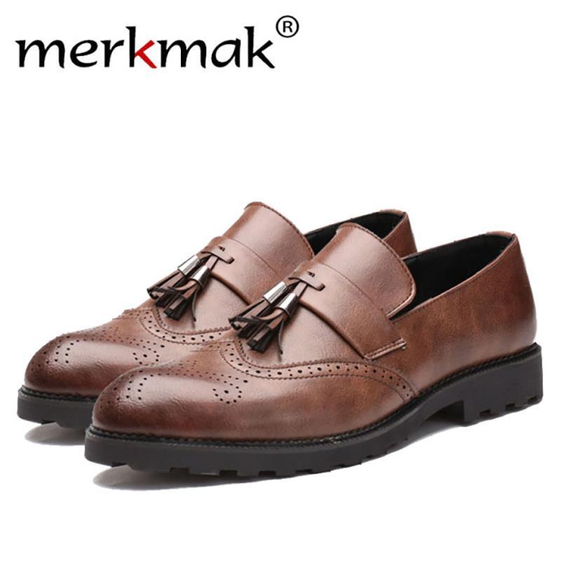 7f0881887a Compre Merkmak 2018 Novos Homens De Borla Apartamentos Sapatos De Couro Homens  Moda Mocassim Sapatos Casuais Marca Confortável Macio Design Masculino  Adulto ...
