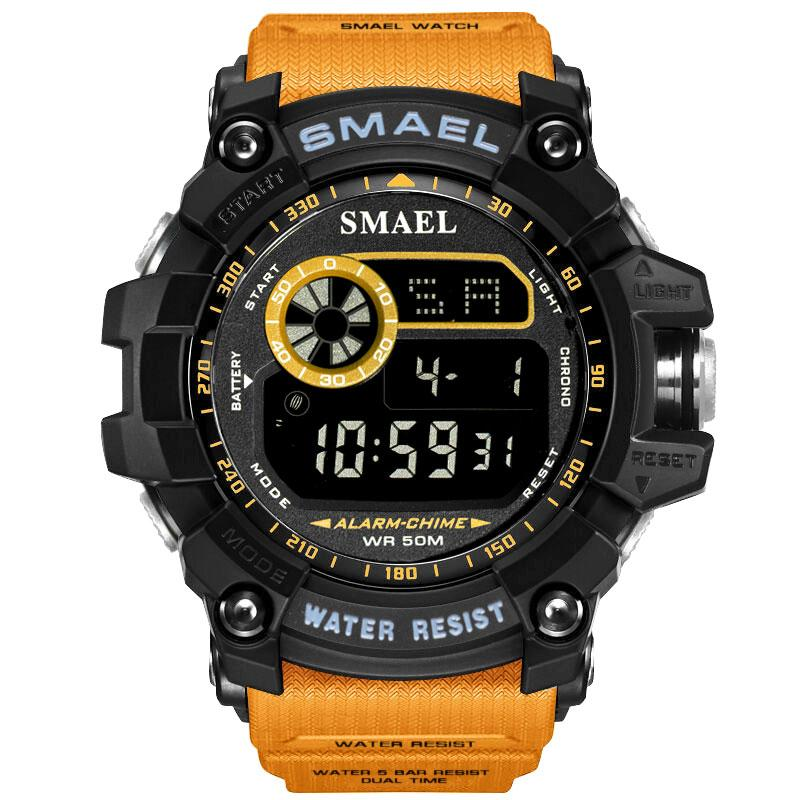 SMAEL Watches Led Digital Watch Big Dial Men Sports Watches 50M Waterproof LED Alarm Clock 8010 Sport S Men