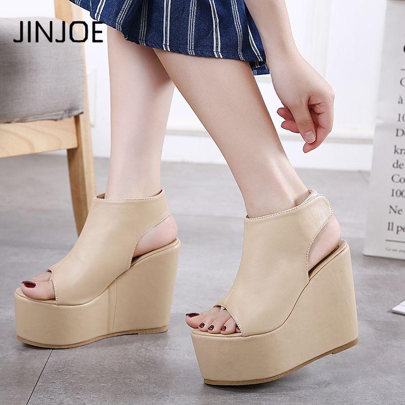 8297eee3 Compre JINJOE Zapatos Mujer Tacones Altos Plataforma Básica Zapatos De Cuña  Roma Muffin Zapatillas Parte Inferior Gruesa PU Dentro De Sandalias  Elevadas ...