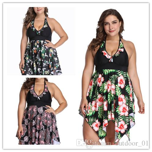 The new best selling large size swimsuit dress skirt swimsuit printing plus fertilizer to increase the explosion of swimsuit