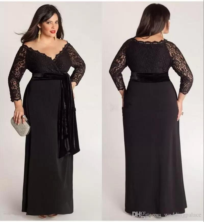 fcc756c5552 Compre Negro Tallas Grandes De Encaje Manga Larga Vestido De Gasa Vestidos  De Noche Escote En V Con Terciopelo Faja Longitud Del Piso Vestidos Para ...
