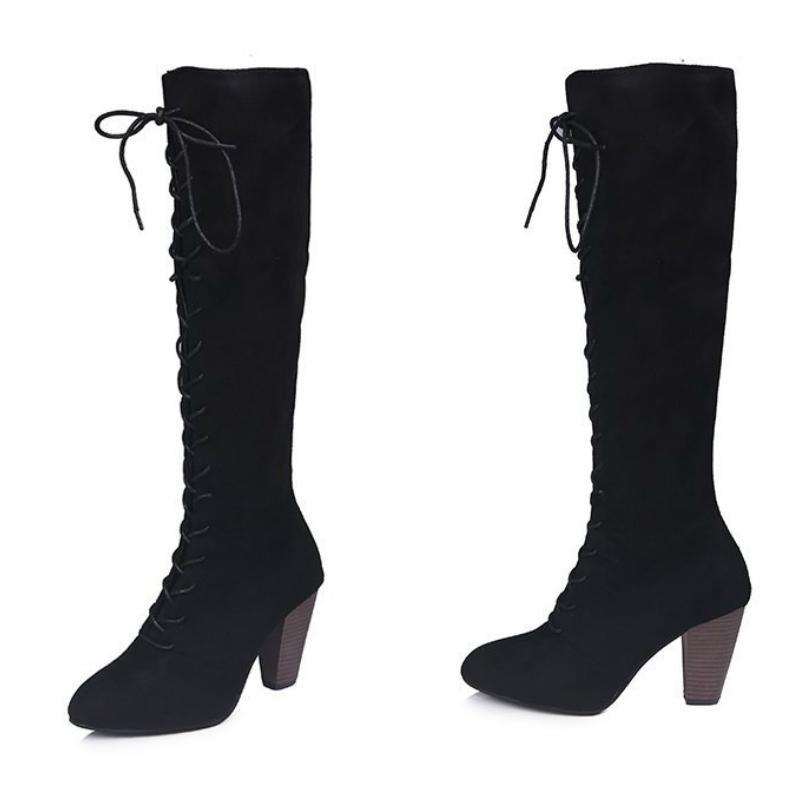 6c040d195 Compre Botas Para Mujer 2018 Nueva Tendencia Color Sólido Correa Cruzada  Cremallera Cómodo Antideslizante Resistente Al Desgaste Zapatos De Tacón  Alto De PU ...