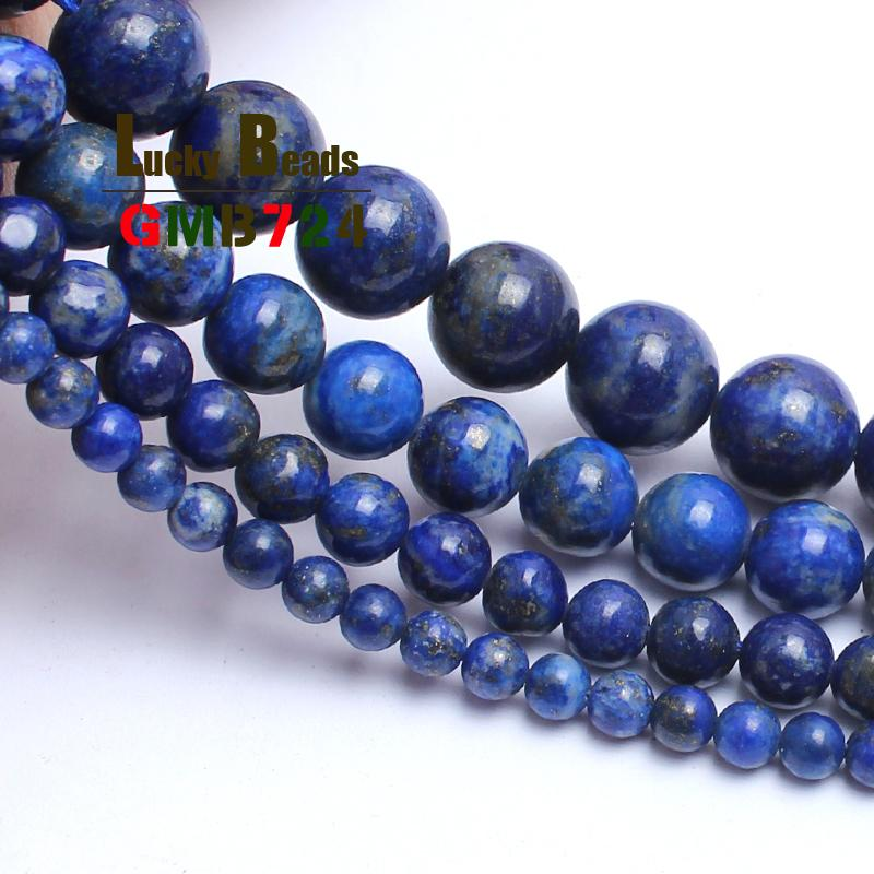 Natural Lapis Lazuli 100% not dyed For Jewelry Making 15inches 4/6/8/10mm Gem Stone Beads Diy Bracelet