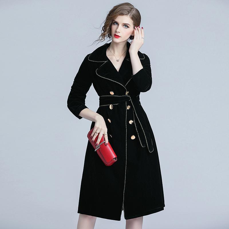 new styles b7541 a49d8 Autumn winter office lady wear elegant velvet long trench coat fashion  double breasted chains runway style women s windbreaker
