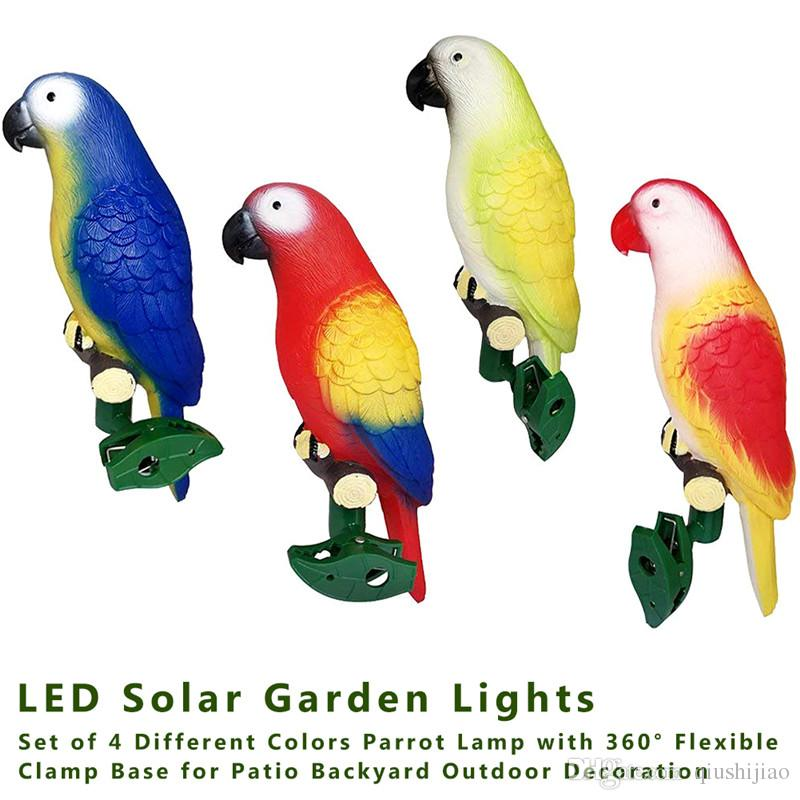 4pcs / set Solar Power LED Light IP44 Parrot Lampada antipioggia con clip Bird Shape Night Light per Outdoor Garden Path Tree Ornament