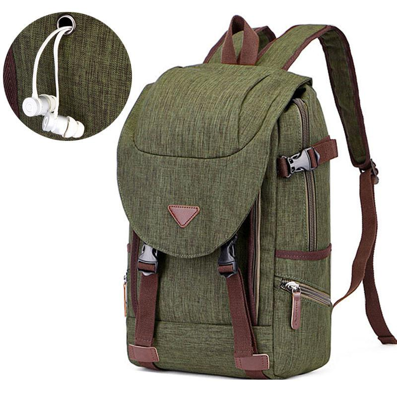 1217928f6a9c6 New Fashion Rucksack Man Vintage Canvas Backpack College School Bags For  Teenager Boy Girls Schulrucksack With Headphone Jack Backpack Brands  Rucksack ...