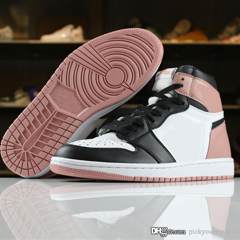 huge discount 2e49d 9bde0 Men Sports 1 Retro High Quality Rust Pink Basketball shoes 1s Pink Trainer  Running Shoes Women Mens Sneaker Designer Shoes with box