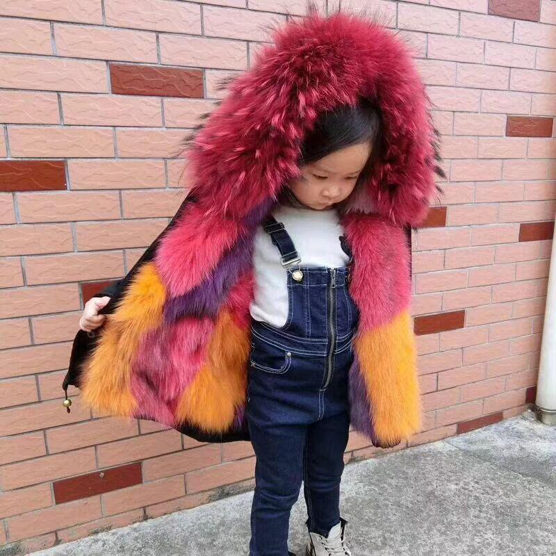 9ba03074c45e4 Kids Fox Fur Jacket Boys Girls Winter Parkas Natural Raccoon Fur Collar Coat  Outerwear Jacket Thick Children Real Fur Coat TZ92 Winter Jackets For  Toddler ...