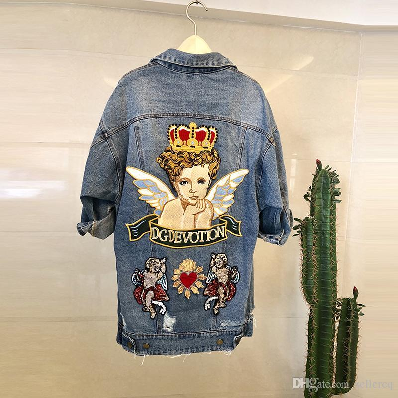 2019 Spring Autumn Women Jackets Hole Old Stereo Angel Embroidery Denim Loose Long Denim Women Designer Jackets