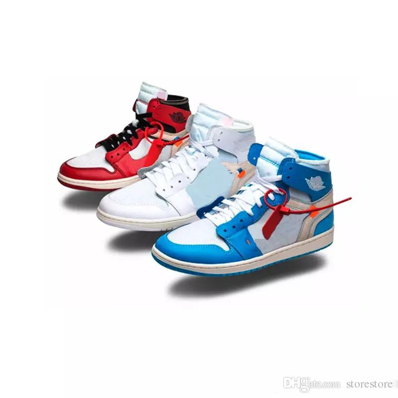 timeless design a4c9c 82b1f Mens OG 1 1S Basketball Shoes Chicago Red White Blue UNC Women Outdoor  Athletic Off Sport Trainer running Shoes Designer Sneakers