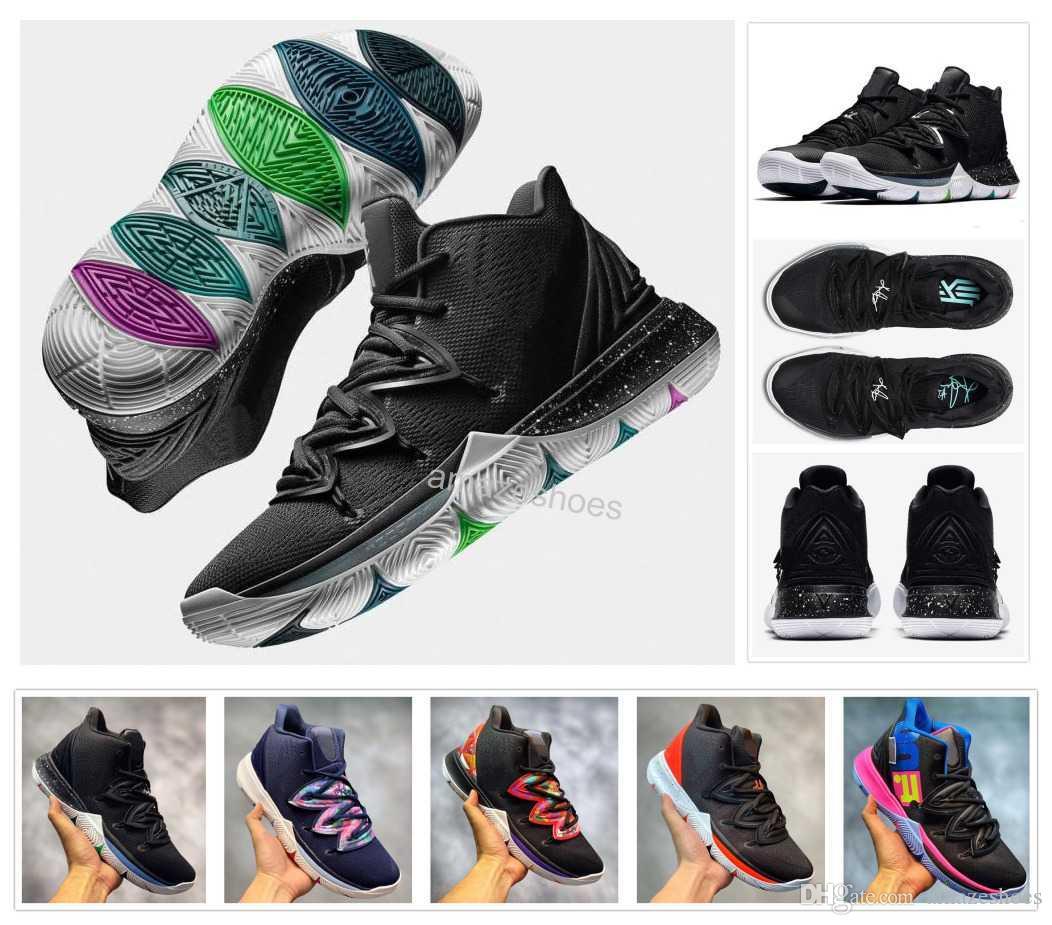 newest 35c67 c7413 2019 Nuevos Hombres 5s Taco Black Magic Kyrie Blanco Baloncesto Zapatos  Irving 5 3M Zapatillas De Deporte Para Hombre Chaussures Zapatillas 7 12  Por ...