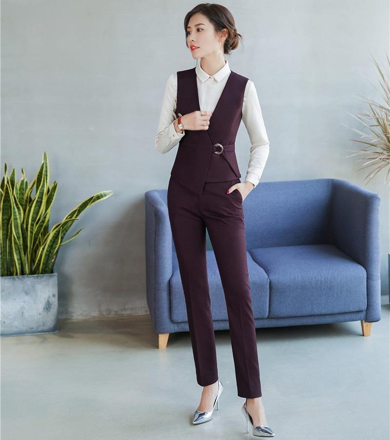 3fbd4f9bd1f0 Формальные дамы фиолетовый жилет Жилет женщин деловые костюмы с брюки и топ  ...