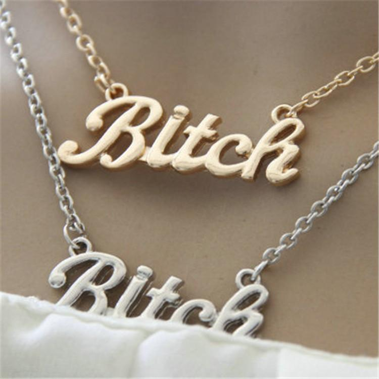 Statement Necklace Gold/Silver Color Letter Bitch Pendant Necklace bijoux femme Letter Necklaces
