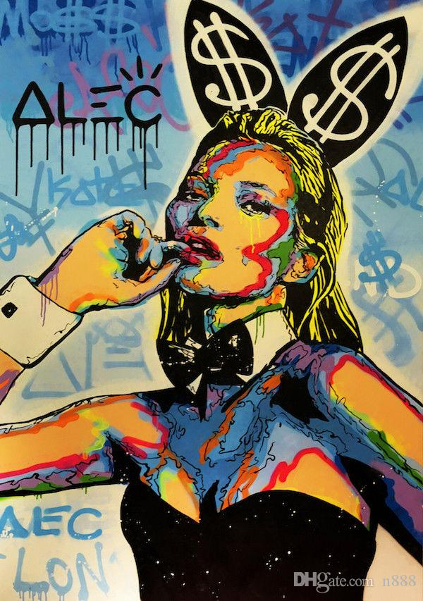 Alec Monopoly Oil Painting On Canvas Graffiti Art Kate Moss Rabbit Home Decor Handpainted &HD Print Wall Art Canvas Pictures 191027