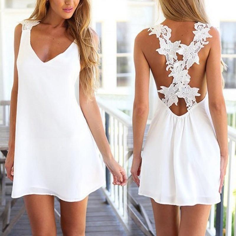 c9ef0c3f Compre Moda Mujer Elegante Vintage Dulce Encaje Blanco Vestido Elegante  Sexy Cuello Casual Playa Delgada Verano Vestido De Verano A $4.03 Del  Cxlzlz959295 ...