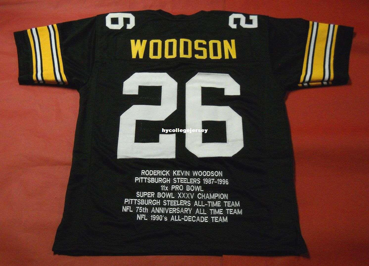 Cheap retro #26 ROD WOODSON CUSTOM STAT MITCHELL & NESS Jersey black Mens Stitching High-end Size S-5XL Football Jerseys College NCAA