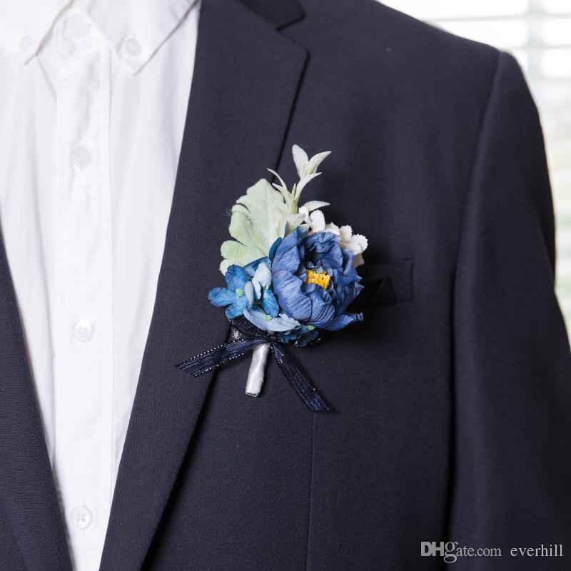 JaneVini Deep Blue Flower Boutonniere For Men Silk Roses Wedding Prom Corsage Artificial Groom Groomsmen Buttonhole Flowers Pins Anniversary