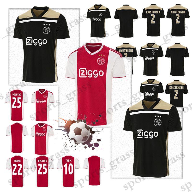 d87dccf85 2019 Ajax Home Red White Soccer Jerseys 18 19 Ajax Away Soccer Shirt 2019   10 TADIC  21 DE JONG  25 DOLBERG  22 ZIYEC Football Uniform Champion From  ...