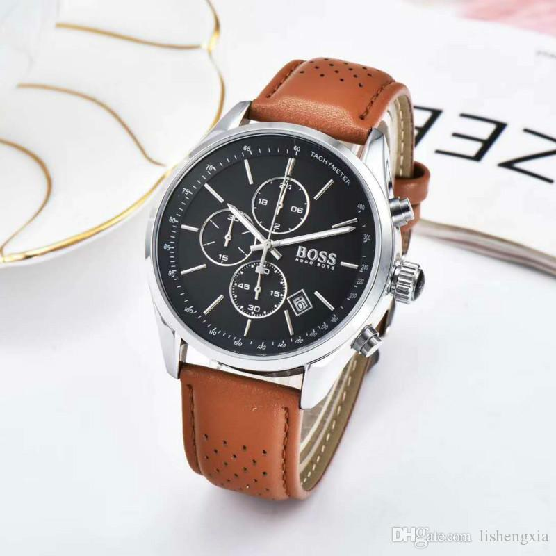 Luxury Germany men multi-function quartz Chronograph BOSS bracelet racing mens watch Leather belt watches Royal Oak wristwatches