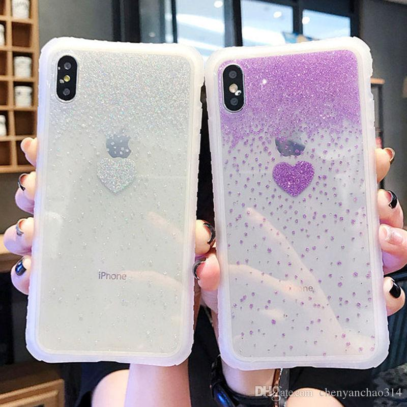 Shining Glitter Cute Love Heart Pattern Transparent Phone Case For iPhone X XS XR XS Max 6 6S 7 8 Plus Clear Bling Back Covers