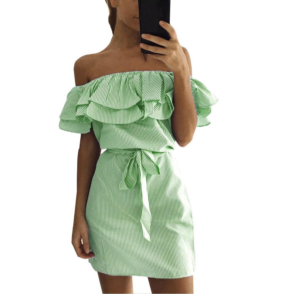 fb5d34238cf Women Striped Off Shoulder Dress Summer Simple Loose Ruffle Waist Dress  Fashion Bow Belt Dresses Vestidos 2019 #5T Holiday Dresses Backless Dress  From ...