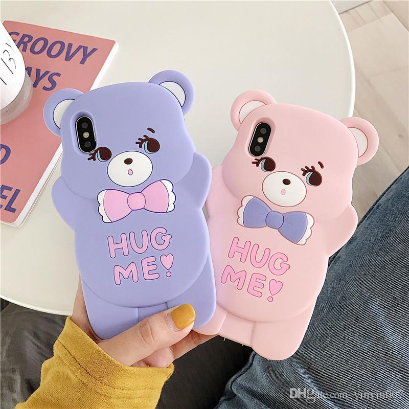 DHL New 3D Cute Cartoon Hug Bear Soft Rubber Silicone Shockproof Drop Protection Kawaii Bumper Case Cover For iPhone 8 Plus 7 6 SE XS Max XR