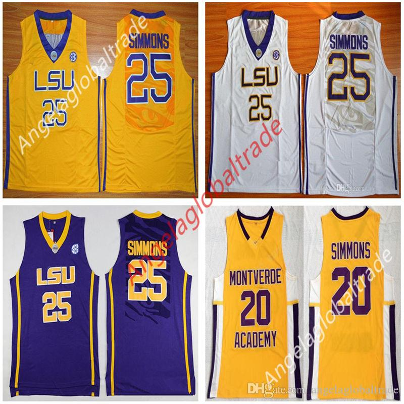 new styles 99a43 fd46f Men s High School 20 Simmons Montverde Academy Eagles Ben Basketball LSU  Tigers College 25 Simmons Jersey Sticthed White Yellow Purple shirt