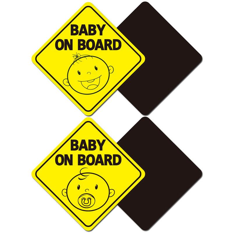 Baby On Board Car Sticker Warning Sign Magnet Automobiles Reflective Safety Cute Magnetic Sticker