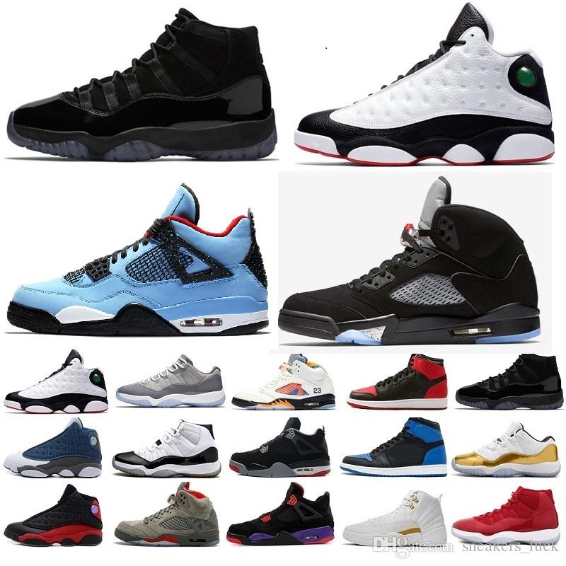 best service 39902 7ee3c 2019 New 11s 13s 12s 4s 1s 5s Concord 45 Bred Black white Red blue Sport  Sneakers Mens Basketball Shoes Trainers