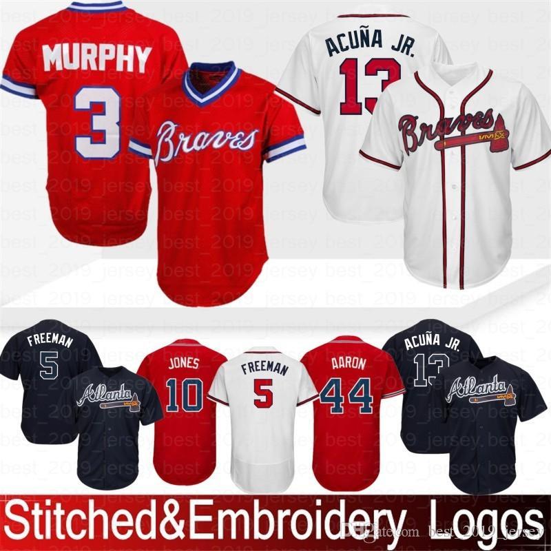 8841470b8 2019 Embroidery 13 Ronald Acuna Jr. Atlanta Braves 10 Chipper Jones 44 Hank  Aaron 5 Freddie Freeman 3 Dale Murphy Baseball Jersey Top Quality From ...